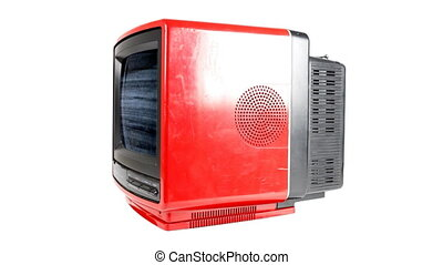Stop motion of a fantastic retro red television spinning around abstract with distortion on the screen
