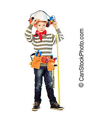 working clothes - Little boy in a helmet plays in the...