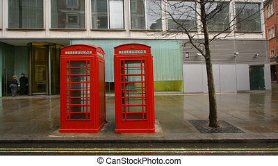 sequence of images of london's famous red telephone boxes