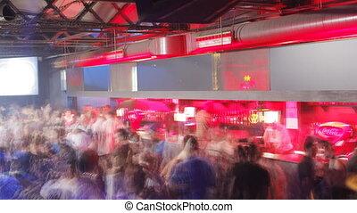 crowd dancing in barcelona's biggest club, Razzmatazz