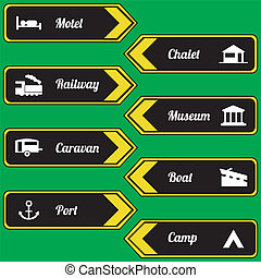Tourist locations icon set black-yellow