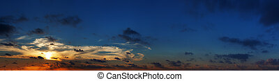 Spectacular panoramic photo of sunset over the sea. High resolution photo.