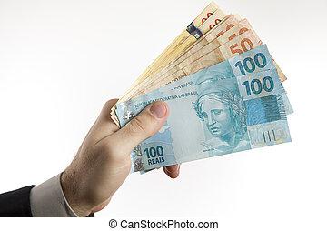 segurando, Brasileiro, Dinheiro