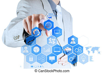 businessman hand working with new modern computer show social network structure