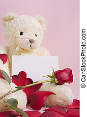 Bear with card - Valentine concept - A beautiful bear with...