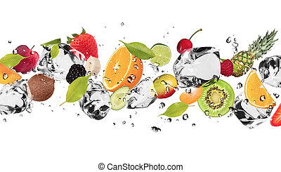 Ice fruit - Pieces of fruit with ice cubes, isolated on...