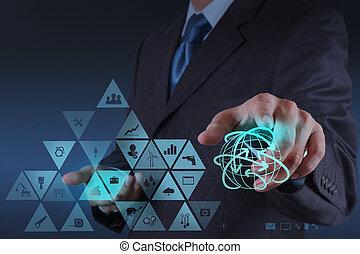 hombre de negocios, mano, trabajando, virtual, interfaz,...