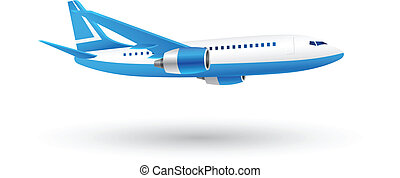 White and Blue Airplane Icon - Illustration of Airplane Icon...