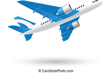 Blue and White Airplane icon - Illustration of Airplane icon...
