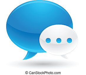 Blue and White Speech Bubbles Icons