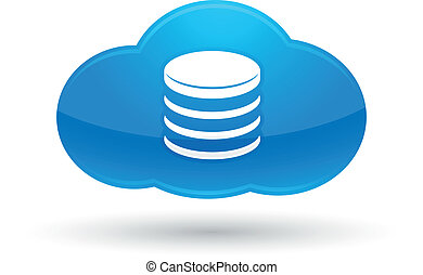 Cloud Computing Database Icon - Illustration of Cloud...