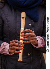 recorder - woman holding her recorder