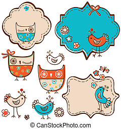 birds elements - owls and little birds design elements