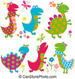 happy dinosaurs - dinos set, happy cute colorful dinosaurs