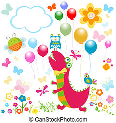 happy dinosaurs card - dinos card, happy cute colorful...