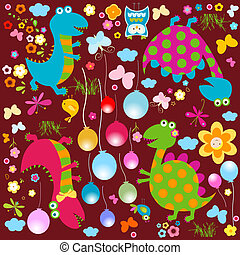 happy dinosaurs background - happy cute colorful dinosaurs...