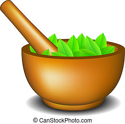 Mortar with pestle and leaves on white background