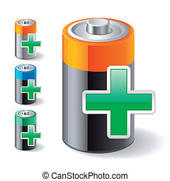 add green plus and battery icons - Illustration of battery...