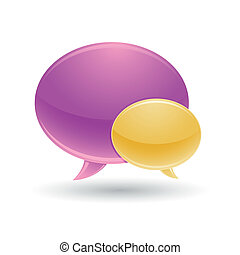 violet and yellow chat bubble icons