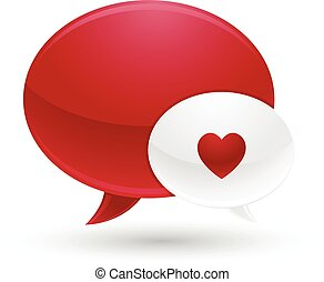 Red and White Message of Love Icons
