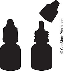 Eye drops silhouette vector - Vector illustration of Eye...