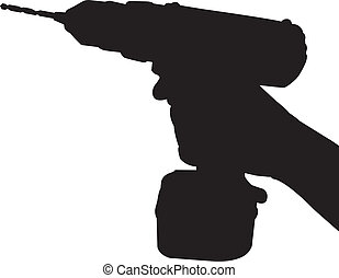 hand hold cordless drill silhouette vector