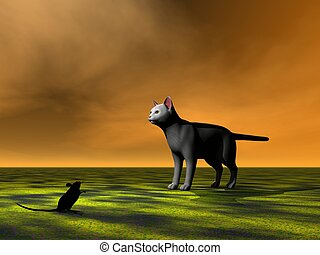 mouse black and cat grey