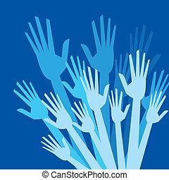happy blue hands
