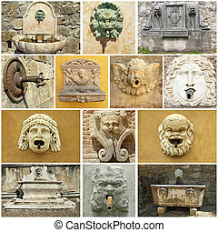 vintage street water source collage - Italy