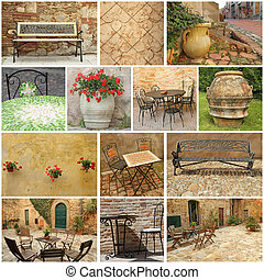 living in Tuscany  -  collage