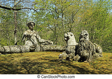 siren and two lions sculptures - The bench like siren and...