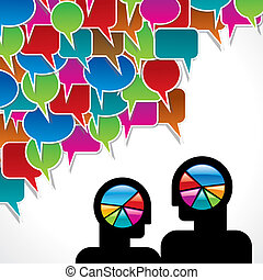 people meet and talk with wheel graphics and colorful speech...