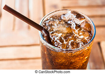 Cold glass with ice black soda drink - Cold glass with ice...