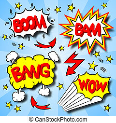 cartoon text explosions - vector illustration of some...