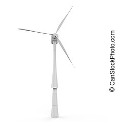 Wind Turbine isolated on white background. 3d render