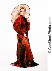 Woman in historical costume - Young beautiful blonde woman...