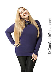 Smiling xxl woman - Charming xxl woman smiling and standing...