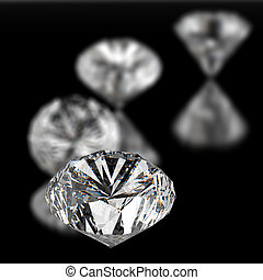 diamonds 3d on black surface background