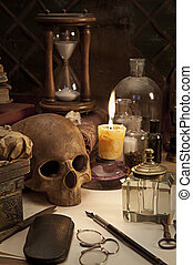 alchemy still life with skull - Alchemy still life with...