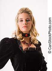 young woman - blonde woman in a romantic black dress