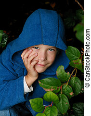 6 year old boy in the forest