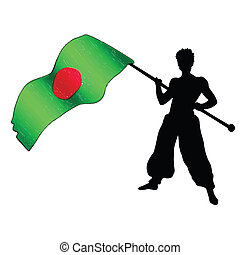 fan with flag in support of Bangladesh