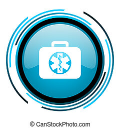 rescue kit blue circle glossy icon