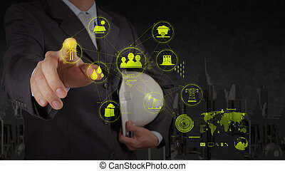 engineer hand show world of industry as concept - engineer...