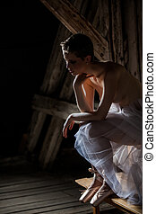 nude with tutu - female nude with tutu in front of a wooden...