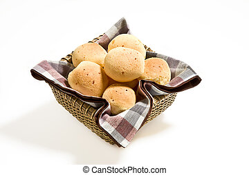 Brazilian cheese buns. - Brazilian cheese buns in a basket.