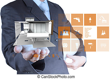 engineer hand shows house model as concept