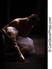 nude with tutu - female nude with tutu and ballet shoes