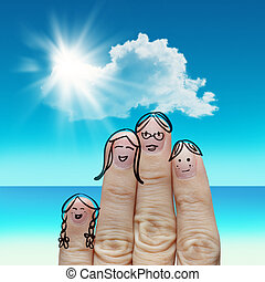 Finger family travels at the beach and singing a song as...