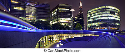 London Panorama at Night - A night-time panoramic view of...